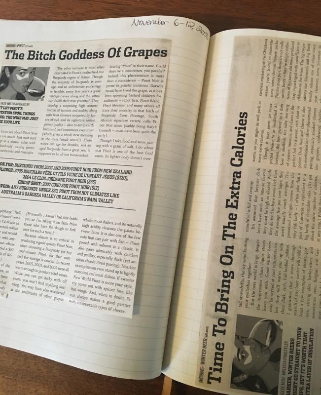 SEE Magazine wine column, circa 2008