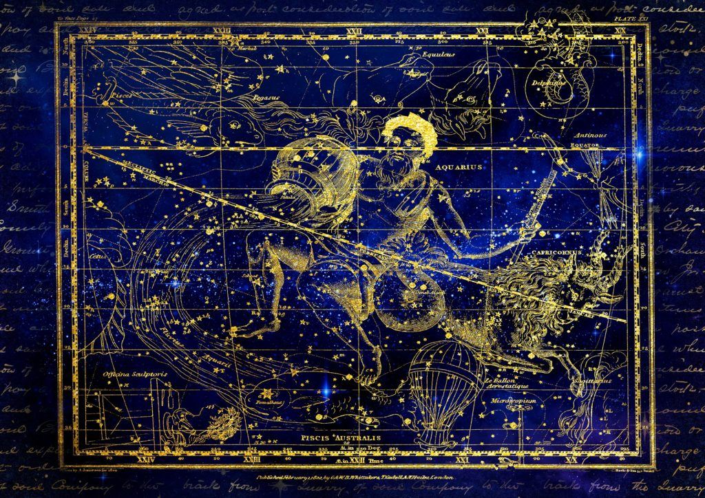 a map of the aquarius constellation with other constellations surrounding it